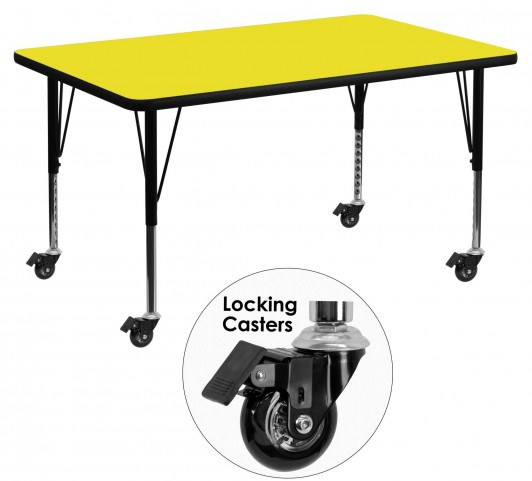 "Mobile 48""L Rectangular Pre-School Adjustable Yellow Activity Table"