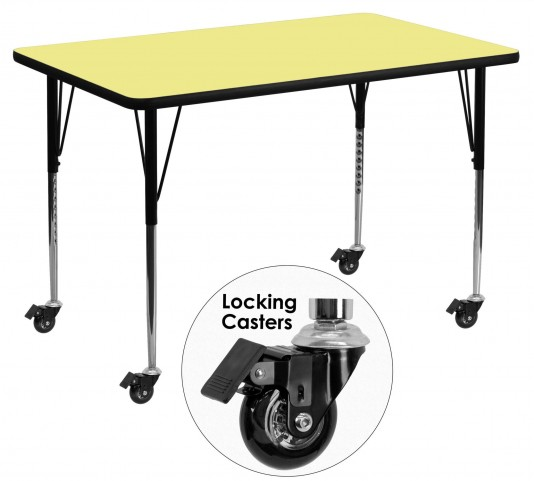 "Mobile 48""L Rectangular Yellow Activity Table"