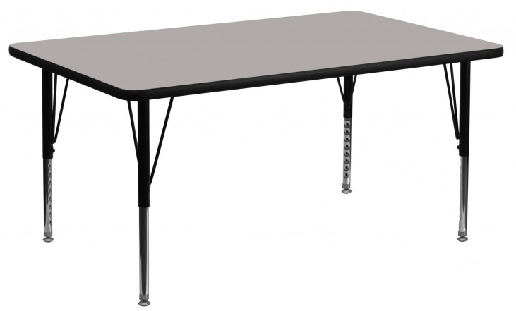 "60"" Rectangular Pre-School Adjustable Height Gray Activity Table"