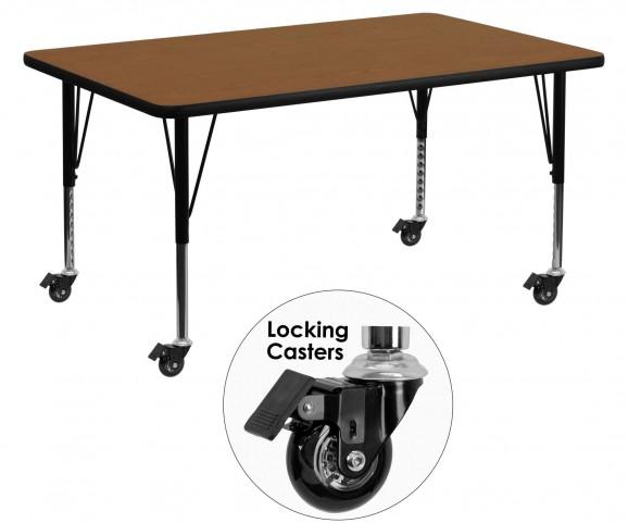"Mobile 60"" Rectangular Pre-School Adjustable Height Oak Activity Table"