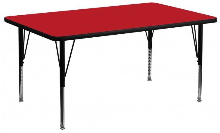 "60"" Rectangular Pre-School Adjustable Height Red Activity Table"