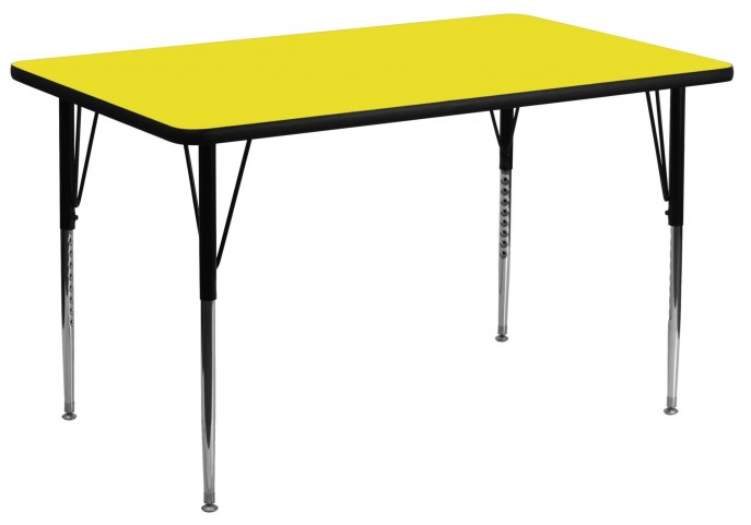 "30""W x 60""L Rectangular Adjustable Height Yellow Activity Table"