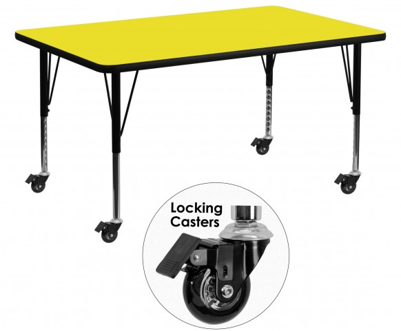 "Mobile 60"" Rectangular Pre-School Adjustable Height Yellow Activity Table"