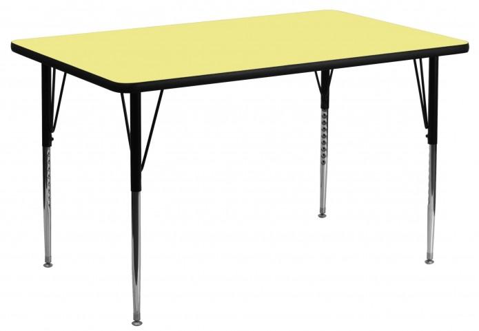 "30""W x 60""L Rectangular Yellow Activity Table"