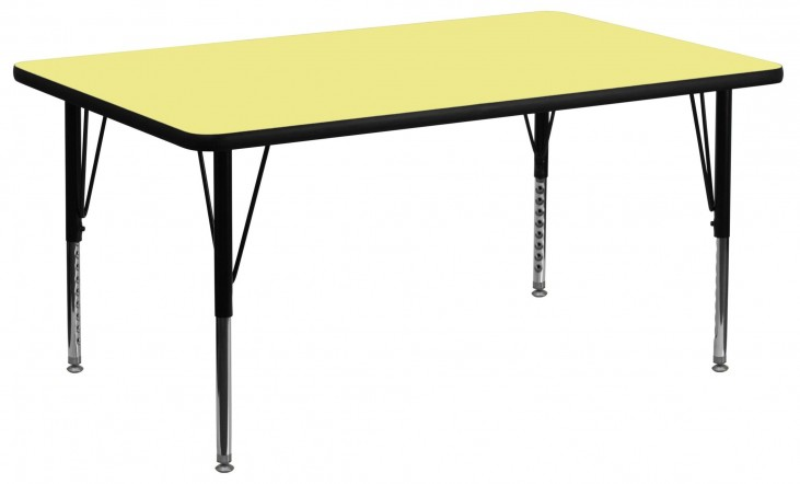 "30""W x 60""L Rectangular Pre-School Yellow Activity Table"