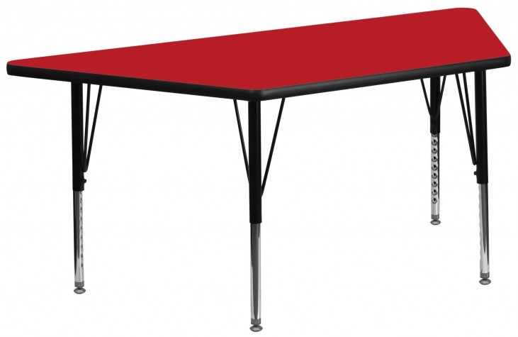 "30""W x 60""L Trapezoid Pre-School Adjustable Height Red Activity Table"