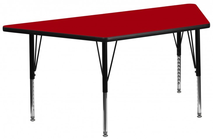 "30""W x 60""L Trapezoid Pre-School Red Activity Table"