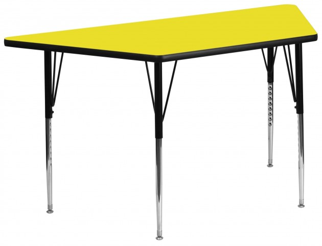 "30""W x 60""L Trapezoid Adjustable Height Yellow Activity Table"