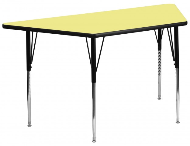 "30""W x 60""L Trapezoid Yellow Activity Table"