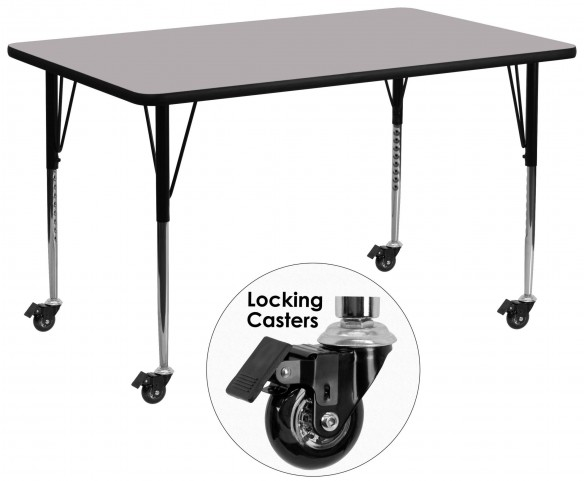 "Mobile 30""W x 72""L Rectangular Gray Activity Table"