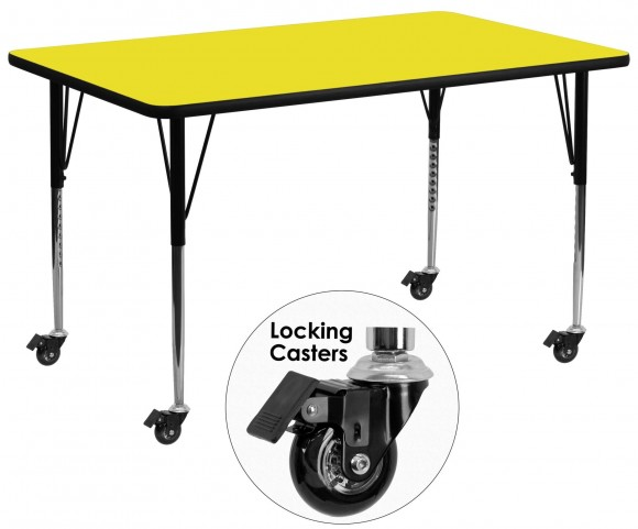 "Mobile 30""W Rectangular Adjustable Height Yellow Activity Table"