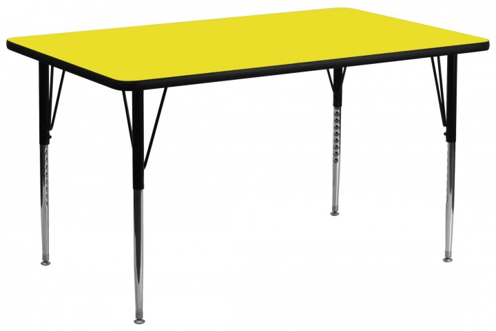 "30""W x 72""L Rectangular Adjustable Height Yellow Activity Table"
