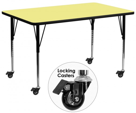 "Mobile 30""W x 72""L Rectangular Yellow Activity Table"
