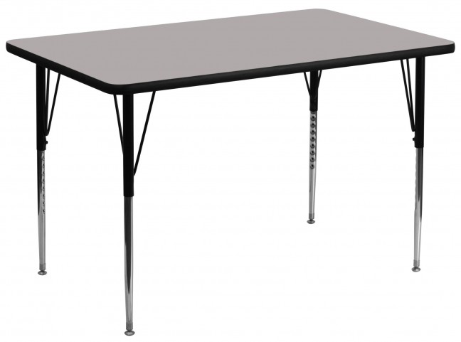 "36""W x 72""L Rectangular Adjustable Height Gray Activity Table"
