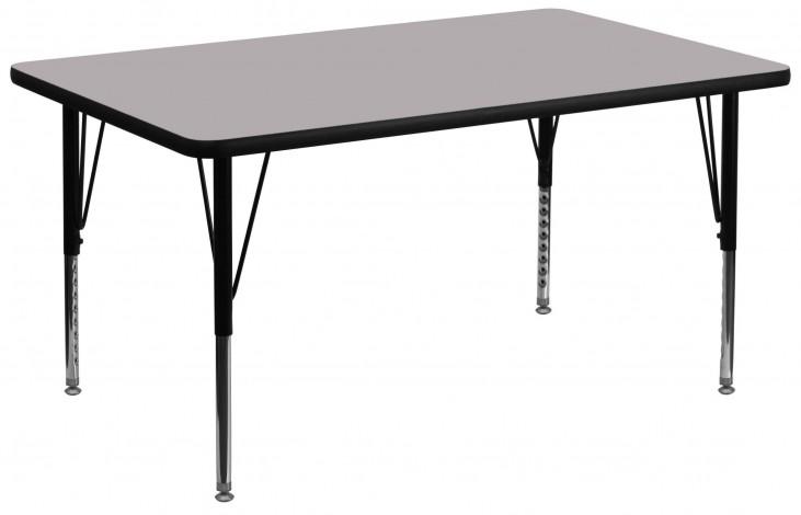 "36""W x 72""L Rectangular Pre-School Gray Activity Table"