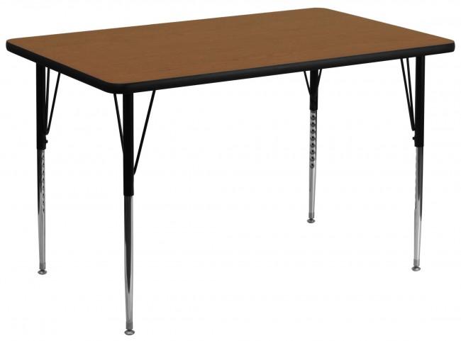 "36""W x 72""L Rectangular Adjustable Height Oak Activity Table"