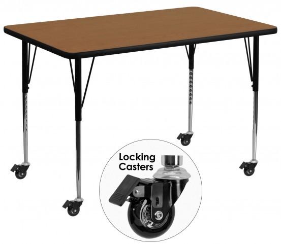 "Mobile 36""W x 72""L Rectangular Oak Activity Table"