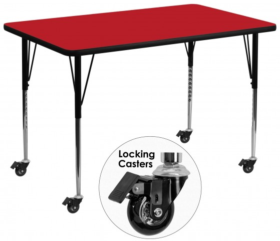 "Mobile 36""W x 72""L Rectangular Adjustable Height Red Activity Table"