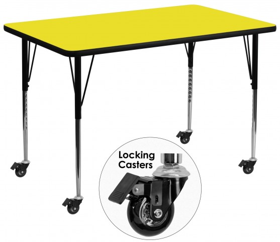 "Mobile 36""W Rectangular Adjustable Height Yellow Activity Table"