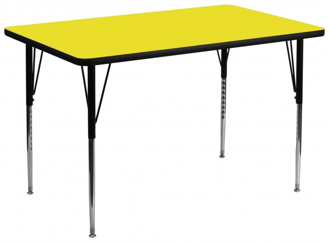"36""W x 72""L Rectangular Adjustable Height Yellow Activity Table"
