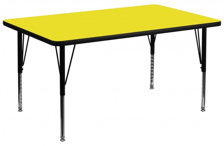 "36""W Rectangular Pre-School Adjustable Height Yellow Activity Table"