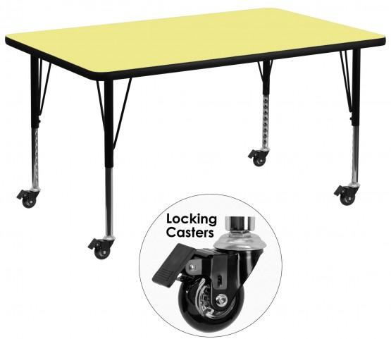 "Mobile 36""W x 72""L Rectangular Pre-School Yellow Activity Table"