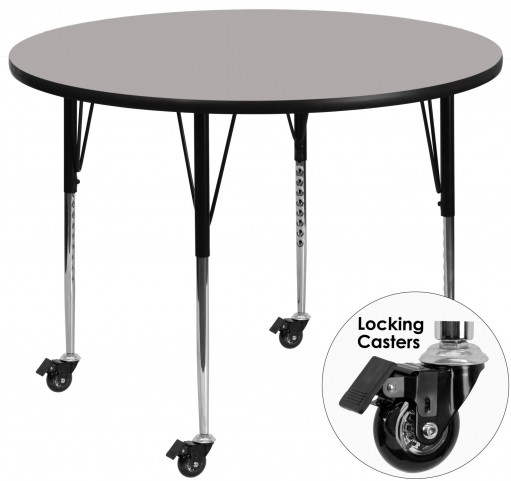 "Mobile 42"" Round Adjustable Height Gray Activity Table"