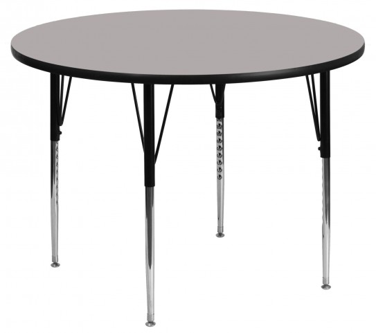 "42"" Round Adjustable Height Gray Activity Table"