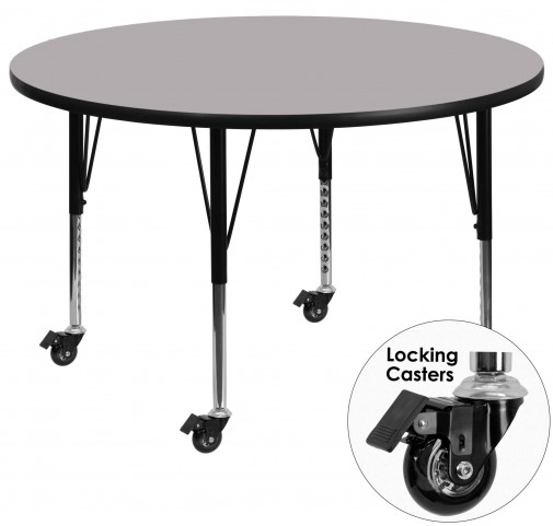 "Mobile 42"" Round Pre-School Gray Activity Table"