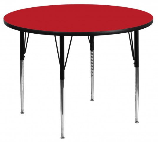 "42"" Round Adjustable Height Red Activity Table"