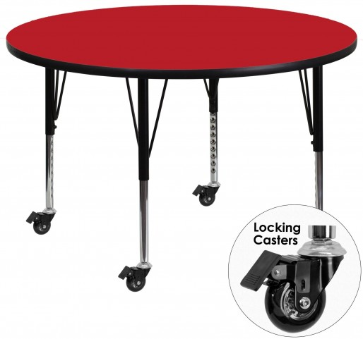 "Mobile 42"" Round Pre-School Adjustable Height Red Activity Table"