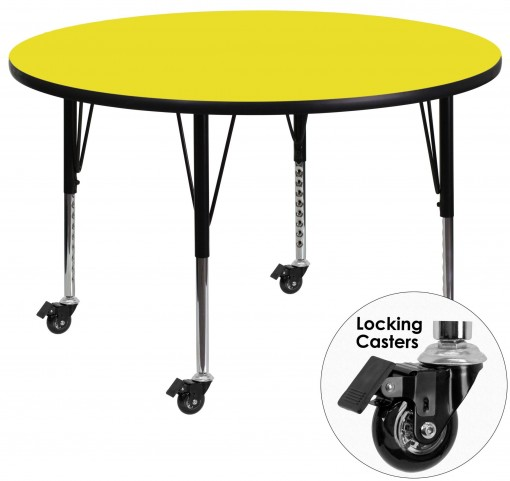 "Mobile 42"" Round Pre-School Adjustable Height Yellow Activity Table"