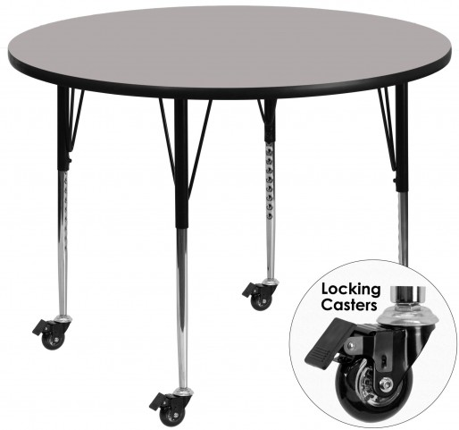 "Mobile 48"" Round Adjustable Height Gray Activity Table"
