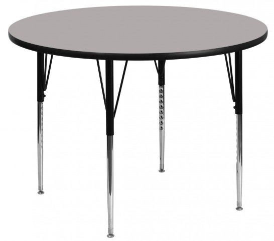 "48"" Round Adjustable Height Gray Activity Table"