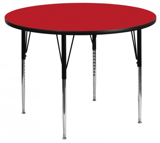 "48"" Round Adjustable Height Red Activity Table"