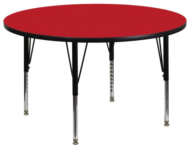 "48"" Round Pre-School Adjustable Height Red Activity Table"