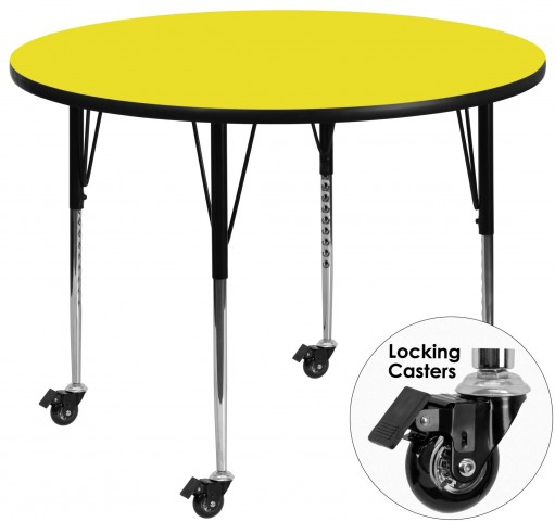 "Mobile 48"" Round Adjustable Height Yellow Activity Table"