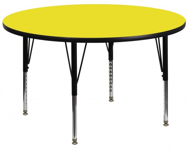 "48"" Round Pre-School Adjustable Height Yellow Activity Table"