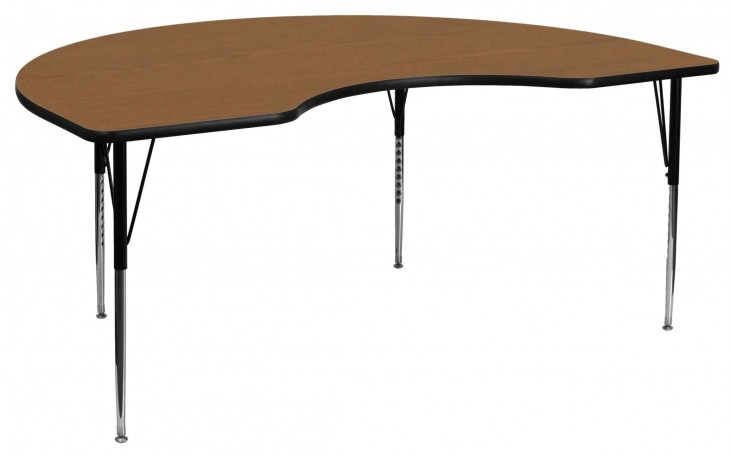 "72""L Kidney Shaped Oak Activity Table"