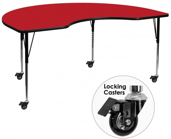 "Mobile 72""L Kidney Shaped Adjustable Height Red Activity Table"