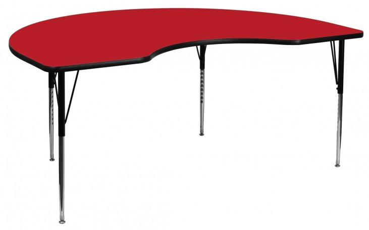 "72""L Kidney Shaped Adjustable Height Red Activity Table"