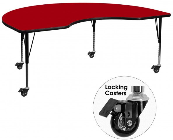 "Mobile 48""W x 72""L Kidney Shaped Pre-School Red Activity Table"