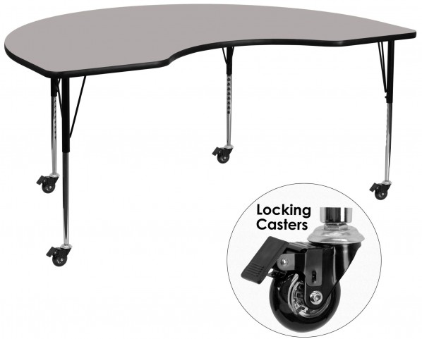"Mobile 96""L Kidney Shaped Adjustable Height Gray Activity Table"