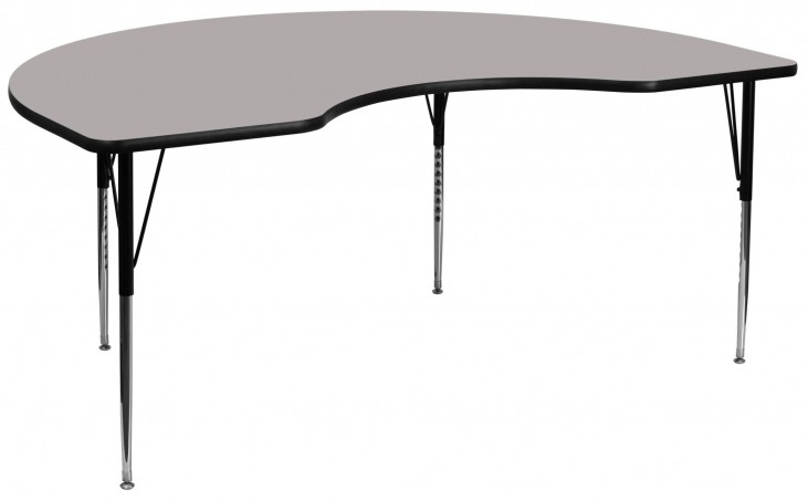 "96""L Kidney Shaped Adjustable Height Gray Activity Table"