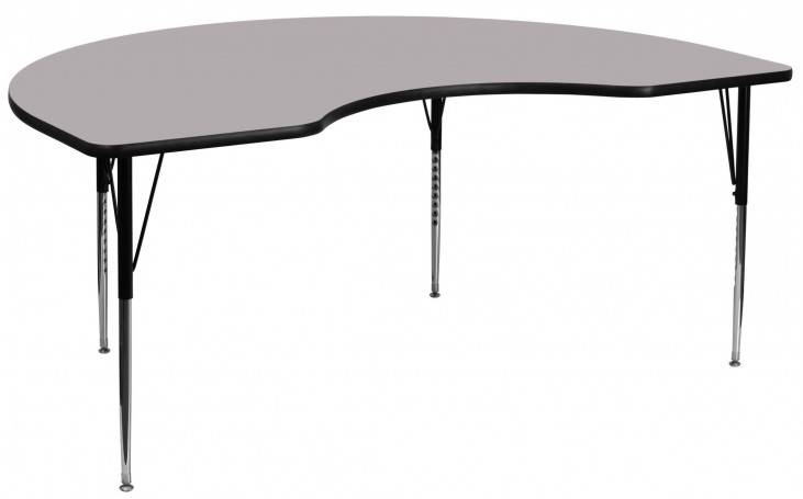 """96""""L Kidney Shaped Gray Activity Table"""