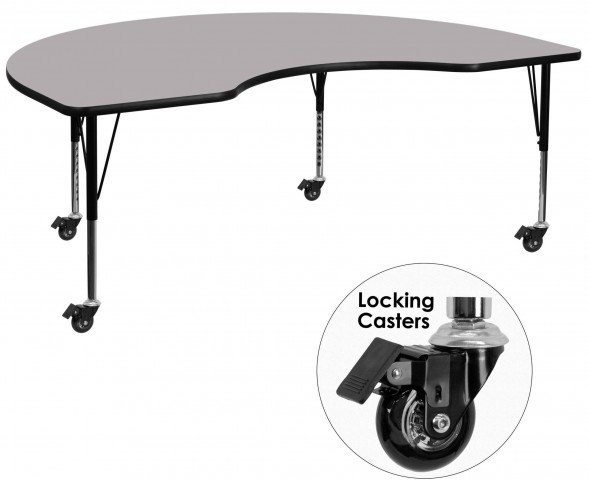 """Mobile 96""""L Kidney Shaped Pre-School Gray Activity Table"""