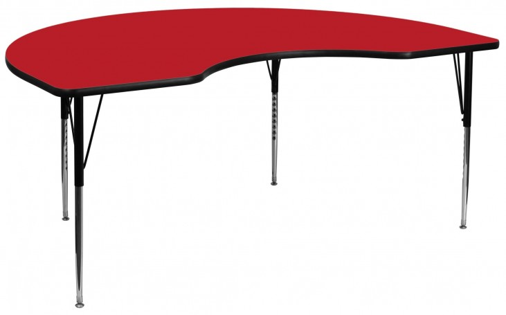 "96""L Kidney Shaped Adjustable Height Red Activity Table"