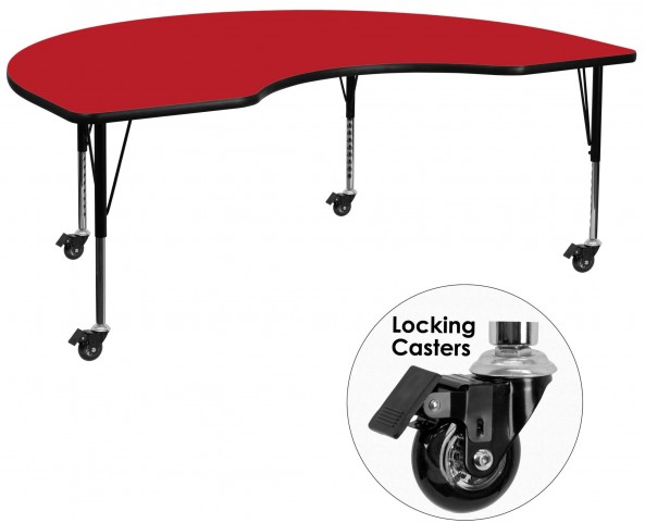 "Mobile 96""L Kidney Shaped Pre-School Adjustable Red Activity Table"