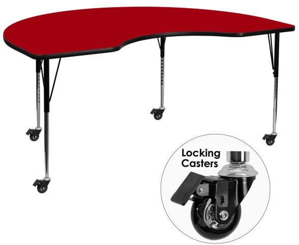 "Mobile 96""L Kidney Shaped Red Activity Table"