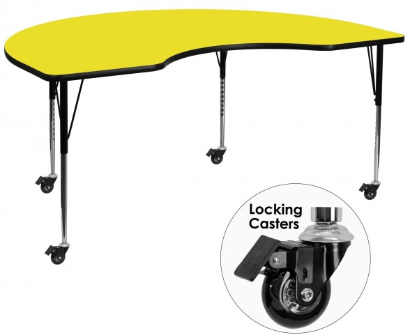 "Mobile 96""L Kidney Shaped Adjustable Height Yellow Activity Table"
